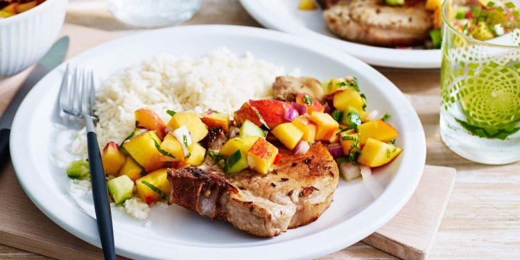 Caraway pork chops with peach