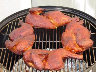Chicken brushed with barbecue sauce