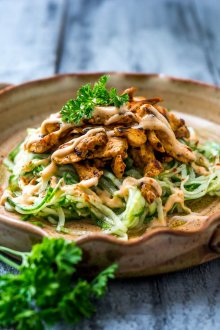Cucumber Noodle Salad with BBQ Chicken
