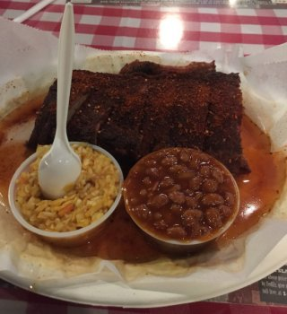 The Ribs at Charlie Vergos' Rendezvous in Nashville Come with Beans and Slaw