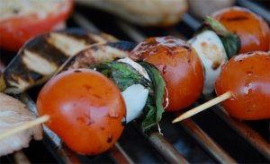 Tomato, mozzarella, basil skewer, photo from bedandbreakfastfoodie.com